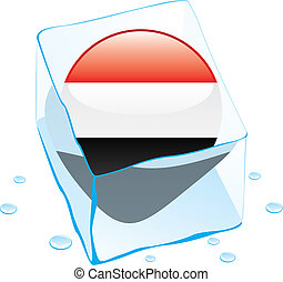 egypt button flag frozen in ice