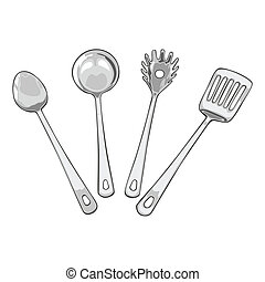 four tools for cooking - fully editable vector illustration ...