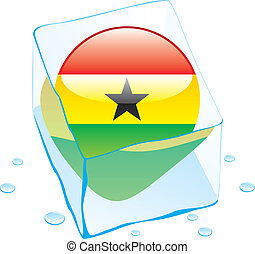 ghana button flag frozen in ice