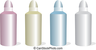 isolated aluminum bottles