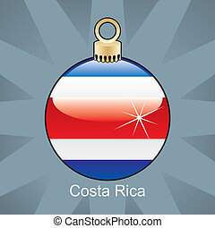 Costa Rica flag in christmas bulb