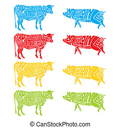 isolated cow and pig - fully editable vector illustration of...