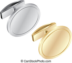 fully editable vector illustration of isolated cuff links