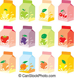 isolated fruit yogurt carton boxes