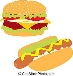 isolated hot-dog and hamburger - fully editable vector...