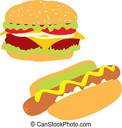 isolated hot-dog and hamburger - fully editable vector...