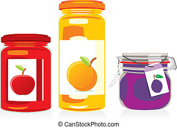 isolated jam jars set - fully editable vector illustration ...