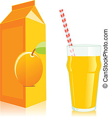 isolated juice box and glass - fully editable vector ...