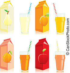 isolated juice boxes and glasses - fully editable vector ...