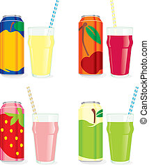 isolated juice cans and glasses - fully editable vector ...