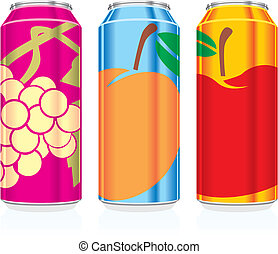 fully editable vector illustration of isolated juice cans