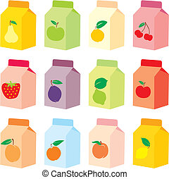 fully editable vector illustration of isolated juice carton boxes