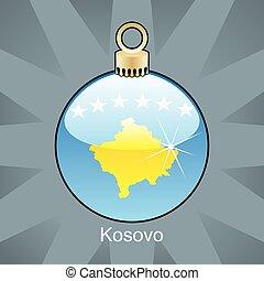 Kosovo flag in christmas bulb