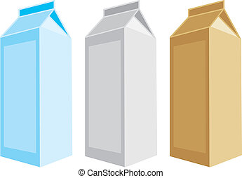 isolated milk boxes - fully editable vector illustration of...