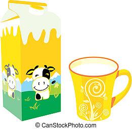 isolated milk carton box and mug
