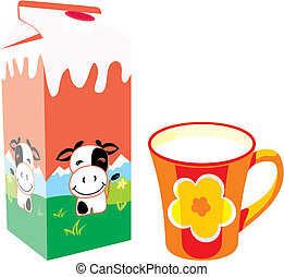 fully editable vector illustration of isolated milk carton box and mug