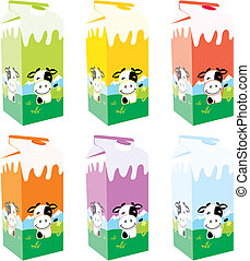 isolated milk carton boxes - fully editable vector...