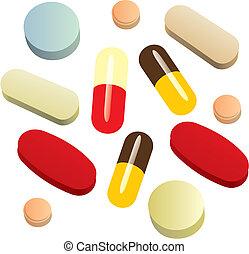 fully editable vector illustration of isolated painkiller pills