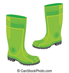 isolated rubber boots - fully editable vector illustration...