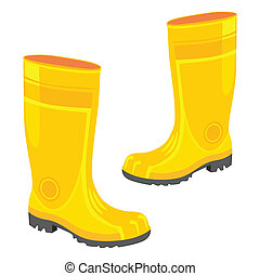 isolated rubber boots - fully editable vector illustration ...