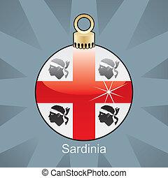 Sardinia flag in christmas bulb - fully editable vector...