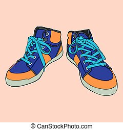 isolated shoes - fully editable vector illustration of ...
