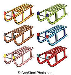 illustration of isolated sleighs - fully editable vector...