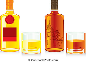 fully editable vector illustration of isolated whiskey bottles and glasses