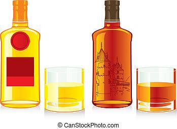 isolated whiskey bottles and glasse
