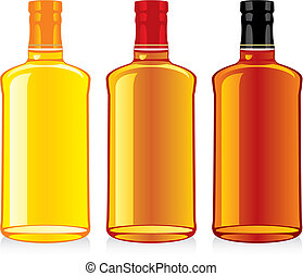 isolated whiskey bottles - fully editable vector...