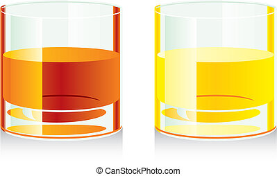 isolated whiskey glasses