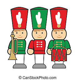 isolated wooden soldiers - fully editable vector...