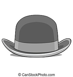 one derby hat - fully editable vector illustration of one...