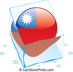 taiwan button flag frozen in ice