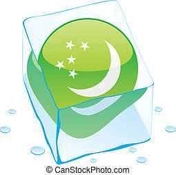 turkmenistan button flag frozen in