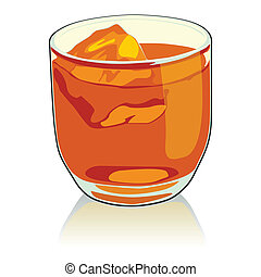 whiskey glass - fully editable vector illustration of...