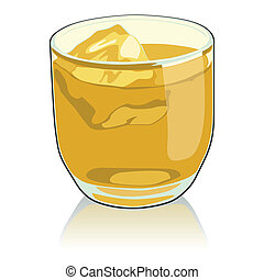 whiskey glass - fully editable vector illustration of ...