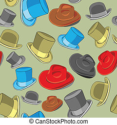 fully editable vector illustration seamless pattern isolated hats
