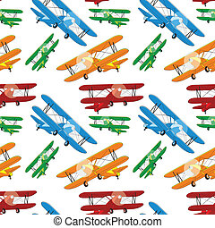 seamless pattern of colored airplan - fully editable vector...