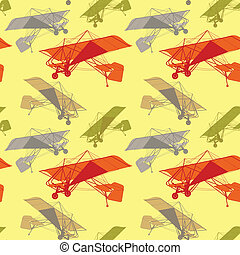 fully editable vector illustration seamless pattern of colored gliders