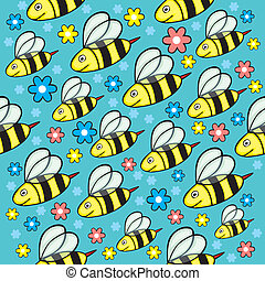 seamless honey bees - fully editable vector illustration ...