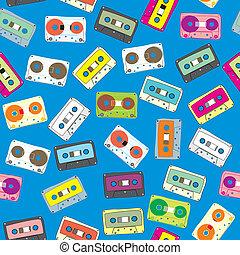 seamless pattern audio cassettes
