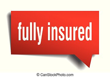 fully insured red 3d speech bubble