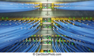 Fully loaded network media converters and ethernet switches. 3d rendering