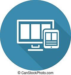 Fully Responsive Web Design Icon. Flat Design. Long Shadow.