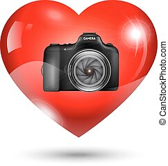 Fully vector Heart with photo camera