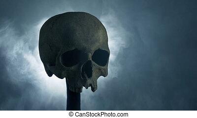fumée, bataille, incandescent, fantasme, poteau, concept, crâne