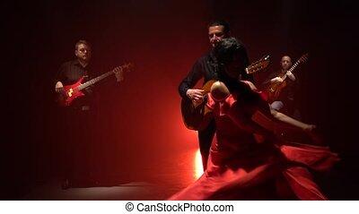 fumée, lumière, rotation, dance., develops, behind., fond, ...