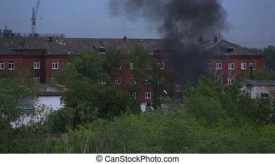 fumée noire, area., résidentiel