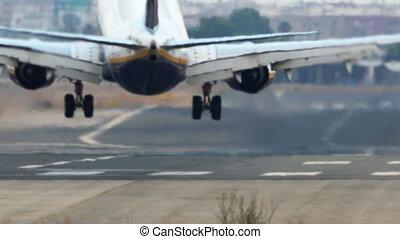 fumée, piste, avion, atterrissage, jet
